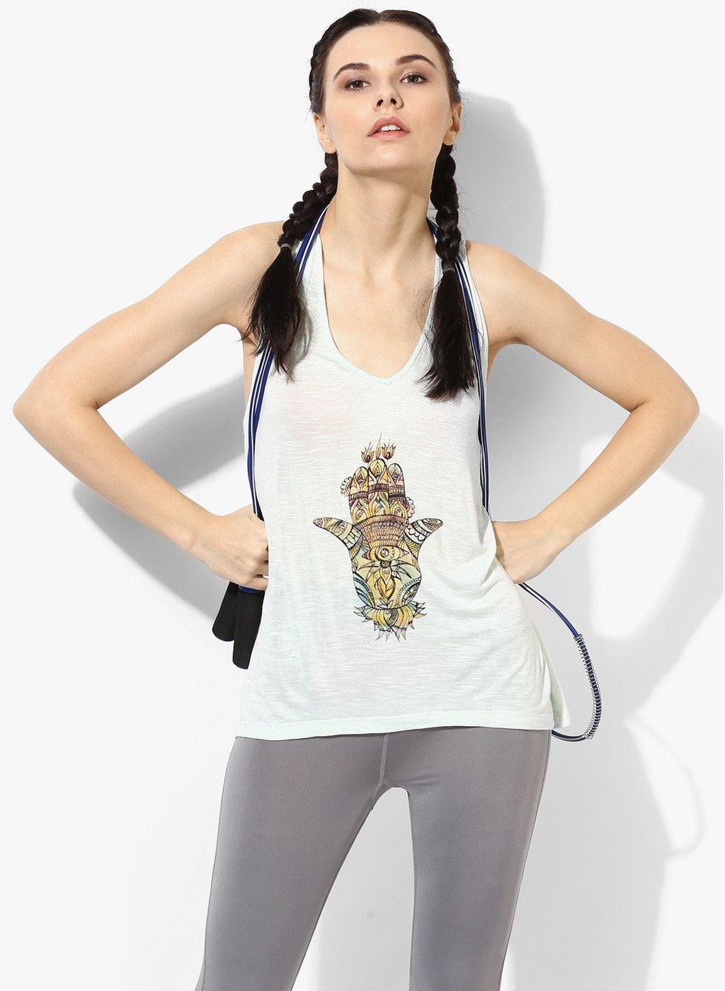 Spiritual Warrior Workout Yoga Athleisure Racerback Tank Hamsa