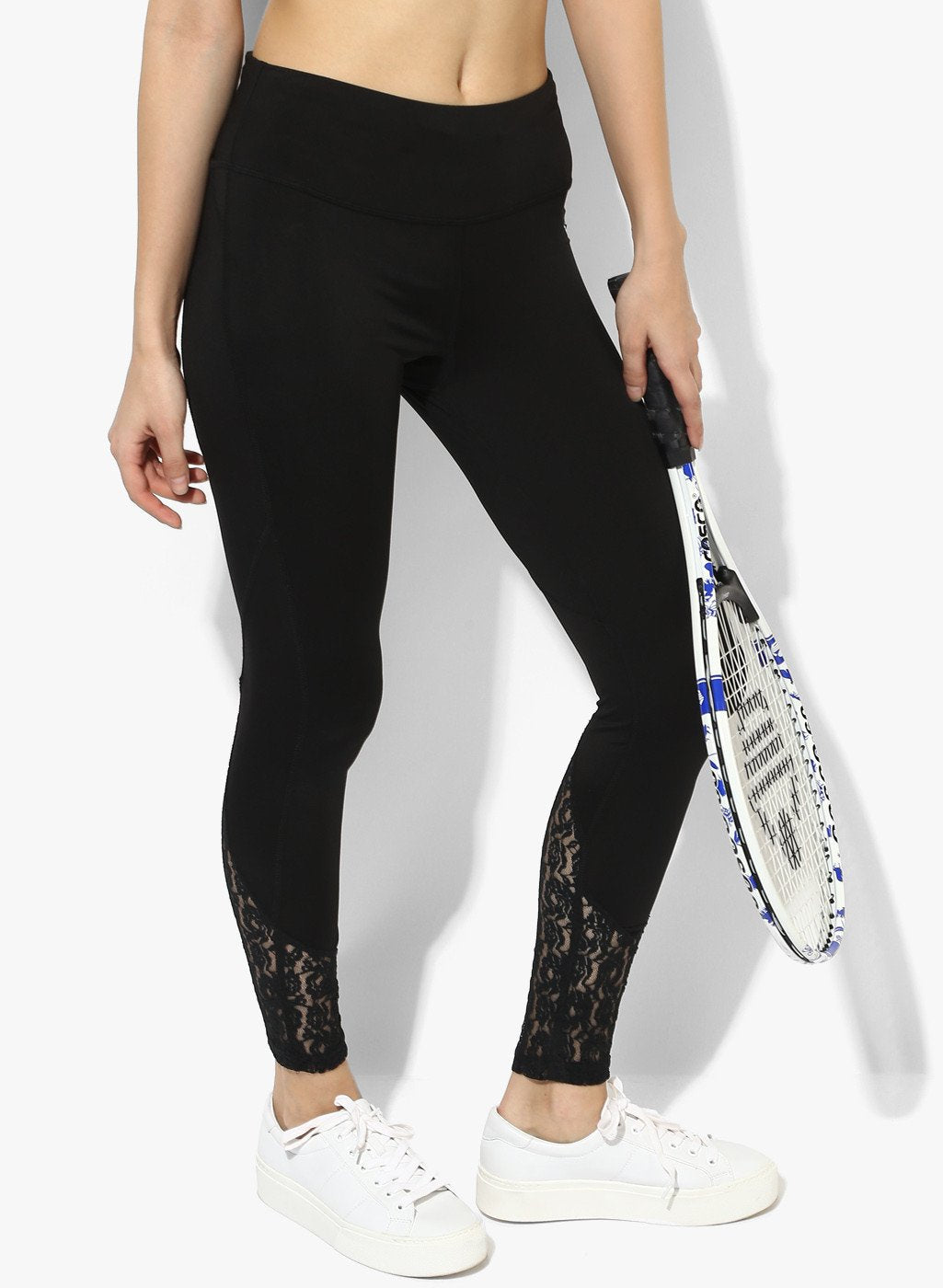 Shakti Warrior Workout Yoga pants Athleisure Black lace leggings