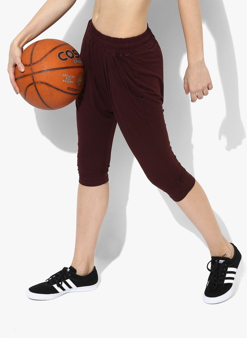 Spiritual Warrior gym Workout active wear Yoga pants Athleisure maroon crop harem pants