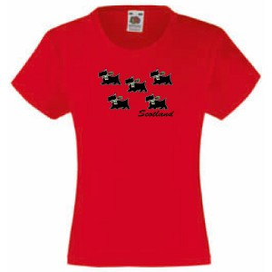 Five wee Scotties, Girls Fitted T-Shirt