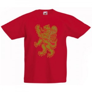 Gold Rampant Lion Design, Childrens T-Shirt