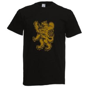 Gold Rampant Lion Design, Adults T-Shirt