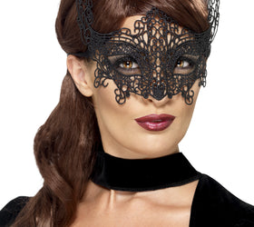 Black Lace Filigree Half Face Mask