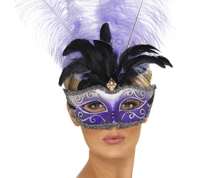 Venetian Colombina Eyemask With Multicolour Plume