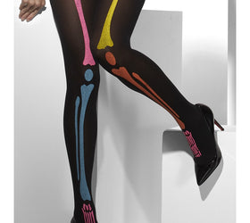 Neon Skeleton Print, Black Tights