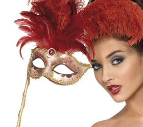 Baroque Fantasy Mask Red Feather
