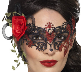 Black And Red Filigree Mask