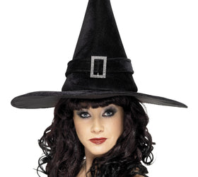 Witches Hat With Diamante Buckle, Black