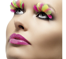 Feather Eyelashes, Multi-Coloured Neon