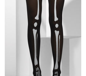 Skeleton print, black tights
