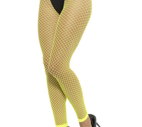 Footless Net Tights, Neon Yellow