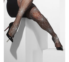 Spiderweb Design Black Tights