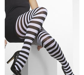 Black & White Striped, Opaque Tights
