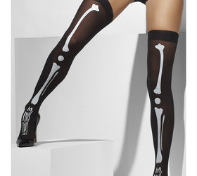 Skeleton print, black stockings