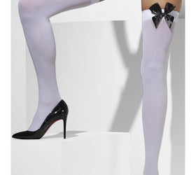 White Opaque Hold-Ups, with Black Bows