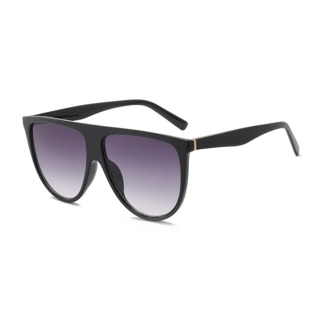 Flat Top Sunglasses, Oversized Black Gradient Shades