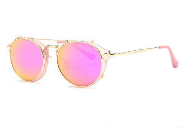 Clip On, Removable Round Steampunk Sunglasses
