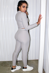 Gray Ribbed Legging Set