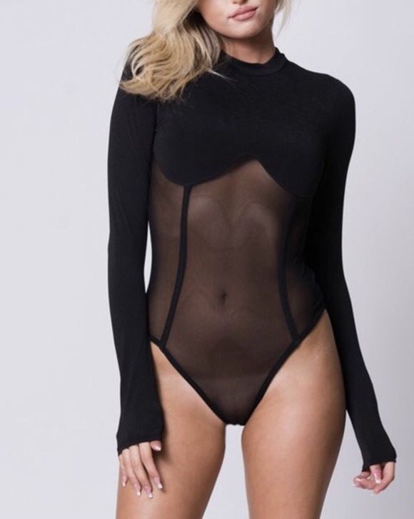 Assume Black Bodysuit