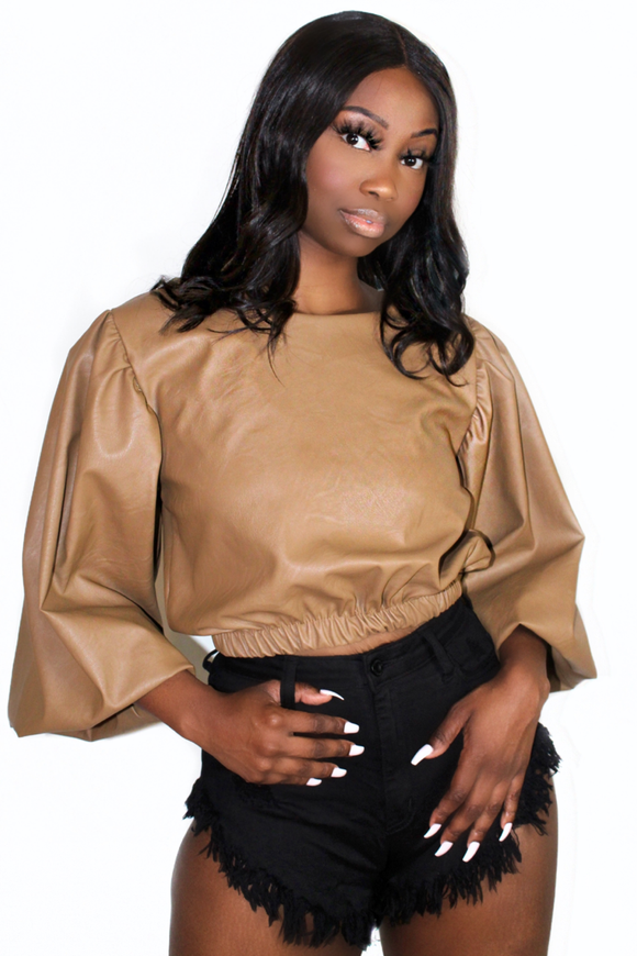 Camel Balloon Sleeve Crop Top