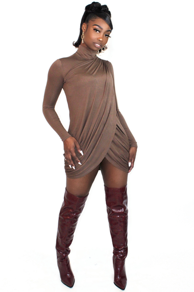 Mocha Drape Cross Front Dress