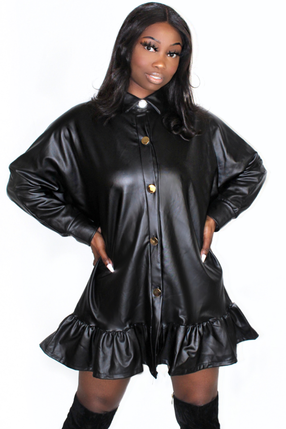 Black Faux Leather Frill Hem Shirt Dress