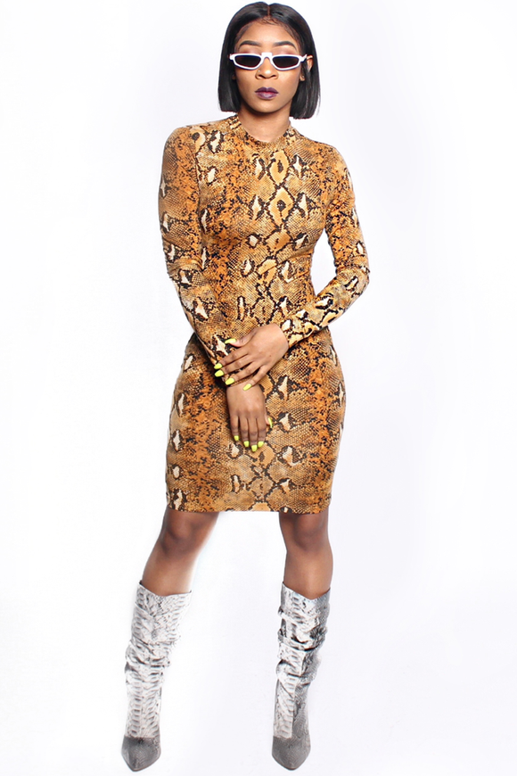 Slither Camel Body-con Dress