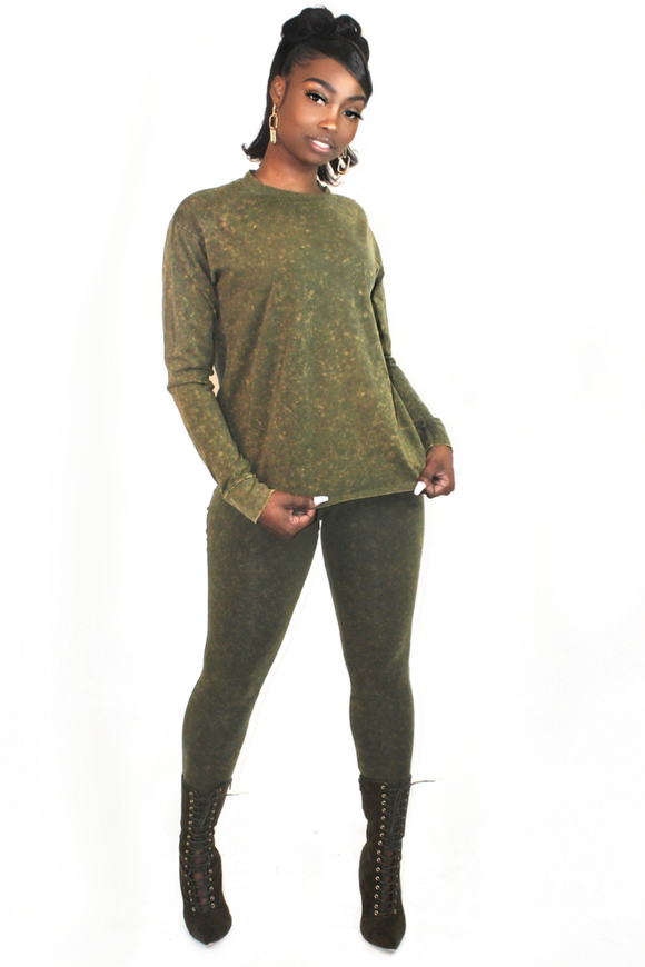 Olive Acid Wash Set