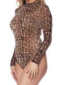 Long Sleeve Leopard Mesh Bodysuit