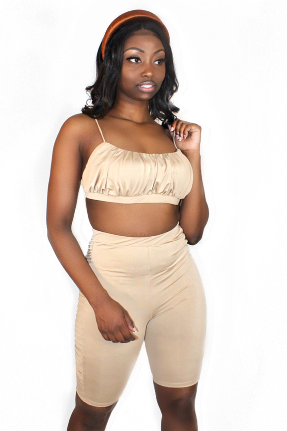 Nude Ruched Bust Top Biker Short Set