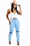 Light Blue Wash Tie Hem Mom Jeans