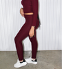 Wine Ribbed Legging  Set