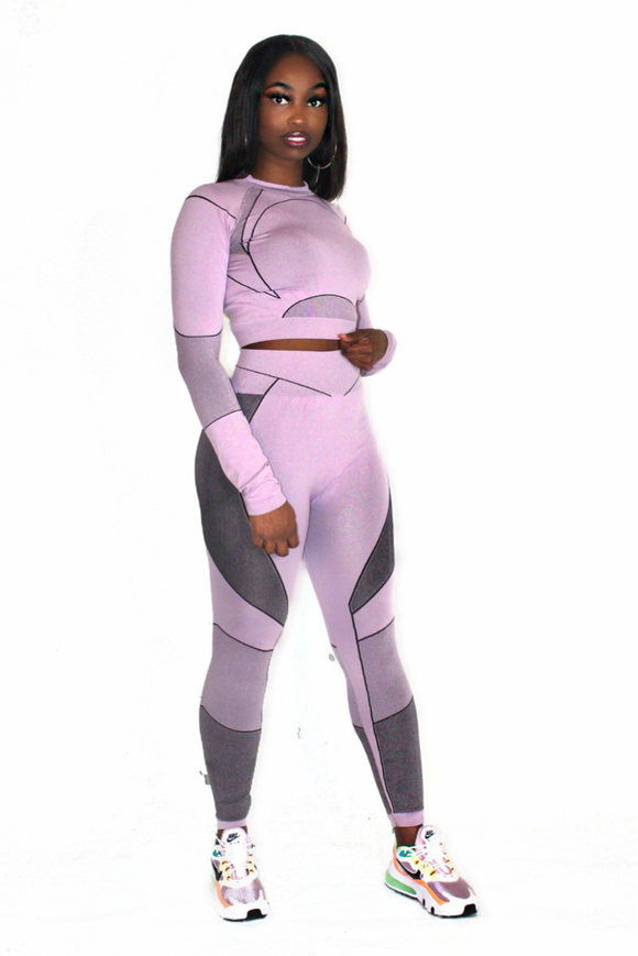 Long Sleeve Seamless Sport Crop Legging Set