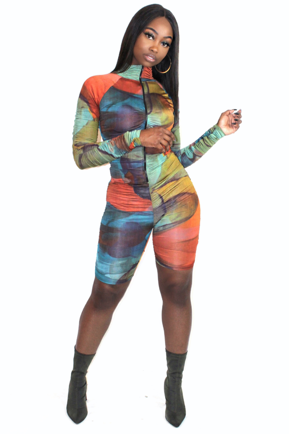 Multi Tie Dye Ruched Sleeve Unitard