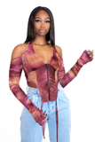 Wine Mesh Halterneck  Ruched Long Sleeve Top