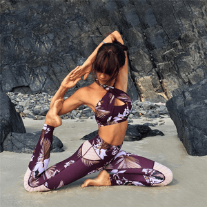 Floral Halter Crop Top & Leggings Set