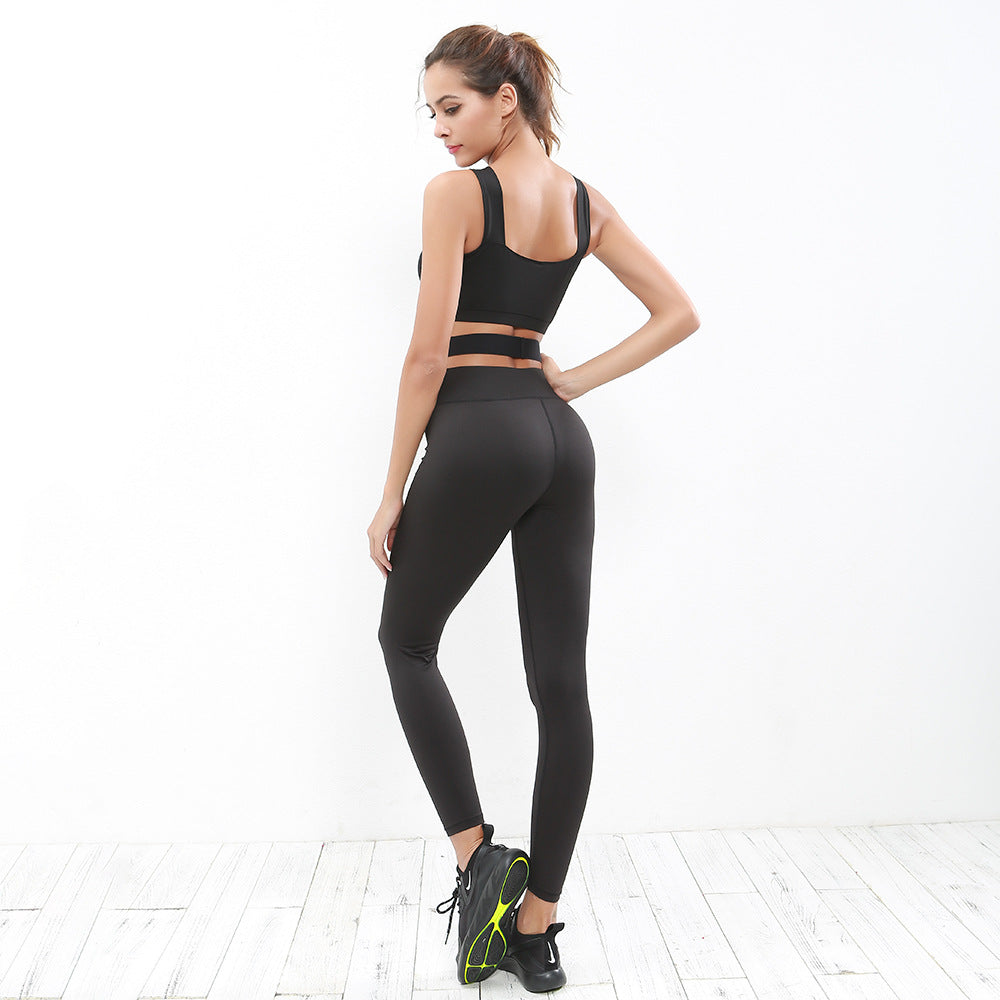 Criss Cross Waist Crop Top & Leggings Set