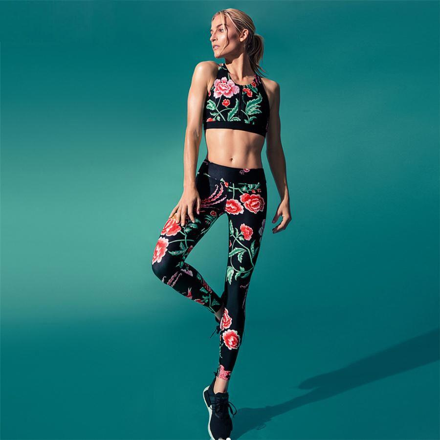 Floral Padded Crop Top & Leggings Set
