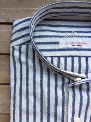 stand selvedge, boucle yarn stripe
