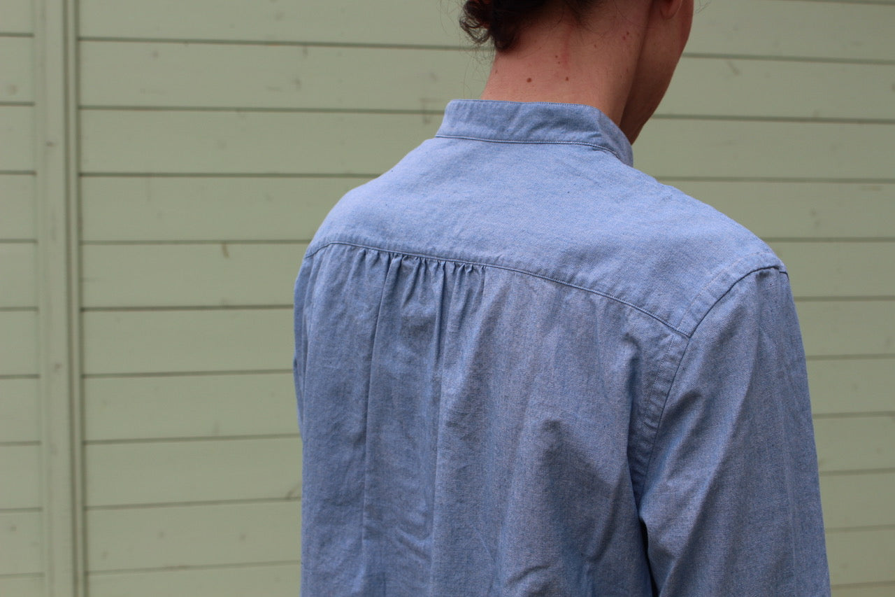 woman long shirt selvedge chambray