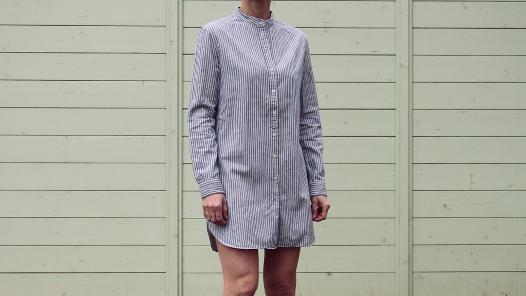 woman long shirt selvedge rail stripe