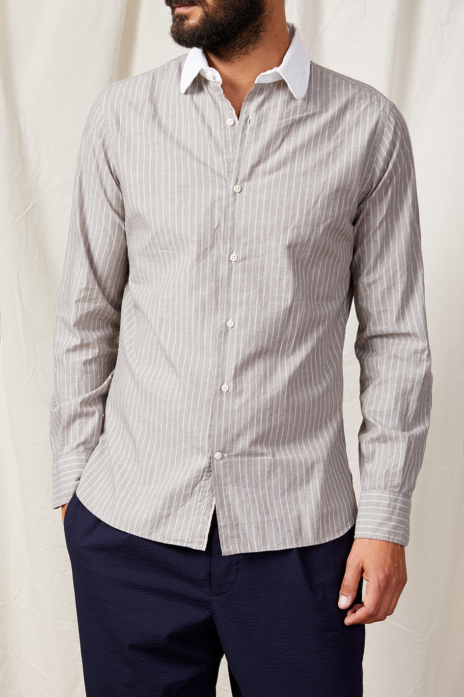 round contrast collar selvedge stripe 0147