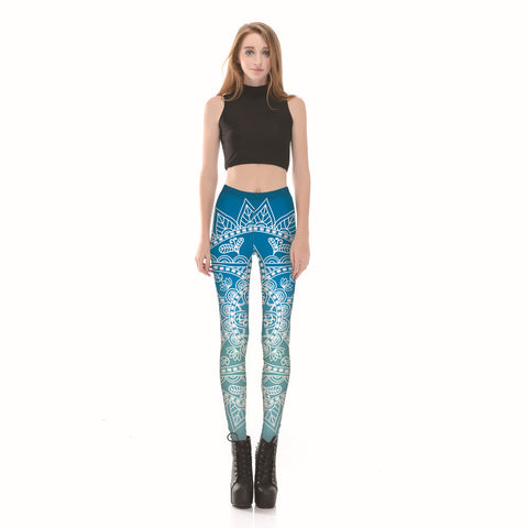 Gradient Lotus Florals Fitness Leggings