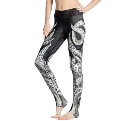 Stretchable Workout 3D Printing Octopus Tentacle Girls Leggings