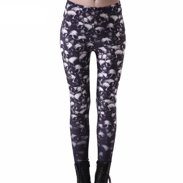 Digital Printing Fun Skulls 3d Print Women Pirate Pant Legging