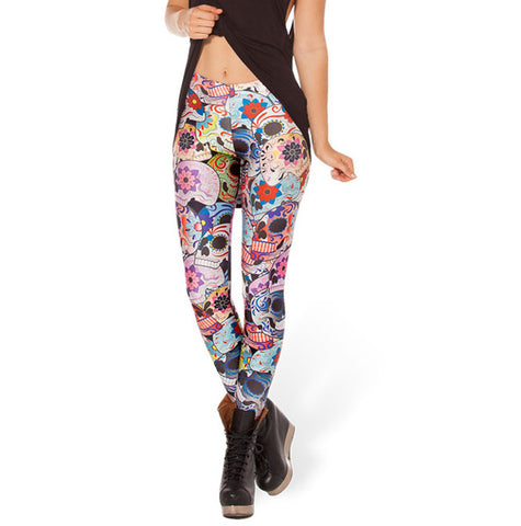 Cheshire Cat Black Aurora Skye Orange Leggings