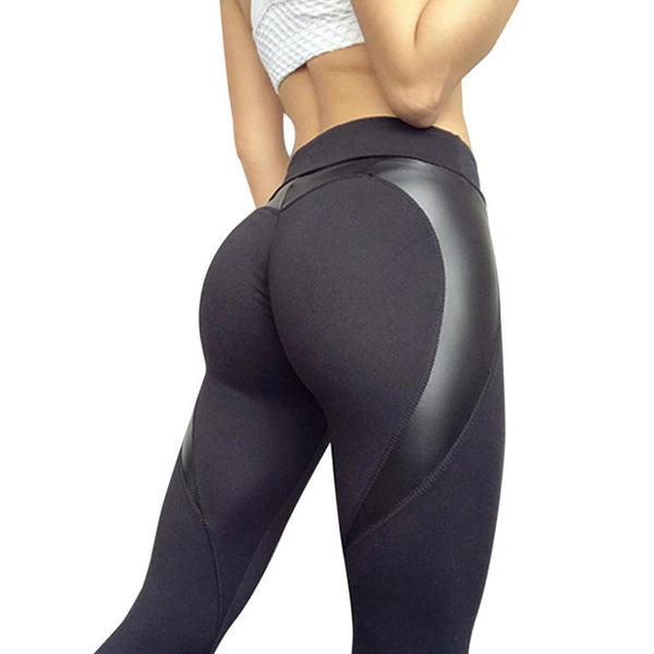 Booty PU Leather Fitness Legging in Heart Shape