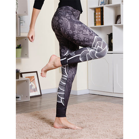 Yogi Women Legging Lotus Pattern Ultra Stretch Tummy Control Fit