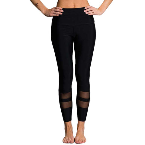 casual solid color workout legging new ring mesh patchwork