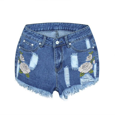 Feitong Women 2018 Floral High Waist Denim Shorts Worn Loose Jeans Short pants